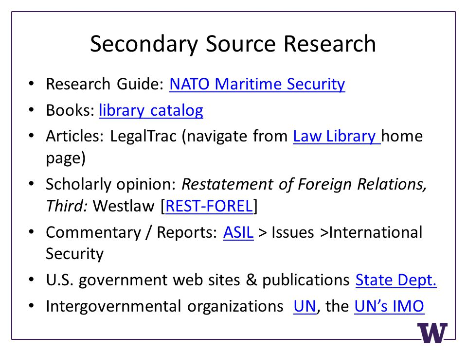 Secondary Source Research Research Guide: NATO Maritime SecurityNATO Maritime Security Books: library cataloglibrary catalog Articles: LegalTrac (navi
