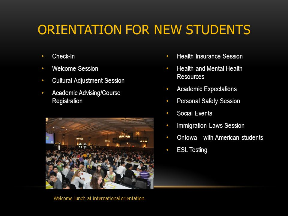 Check-In Welcome Session Cultural Adjustment Session Academic Advising/Course Registration Health Insurance Session Health and Mental Health Resources Academic Expectations Personal Safety Session Social Events Immigration Laws Session OnIowa – with American students ESL Testing ORIENTATION FOR NEW STUDENTS Welcome lunch at international orientation.