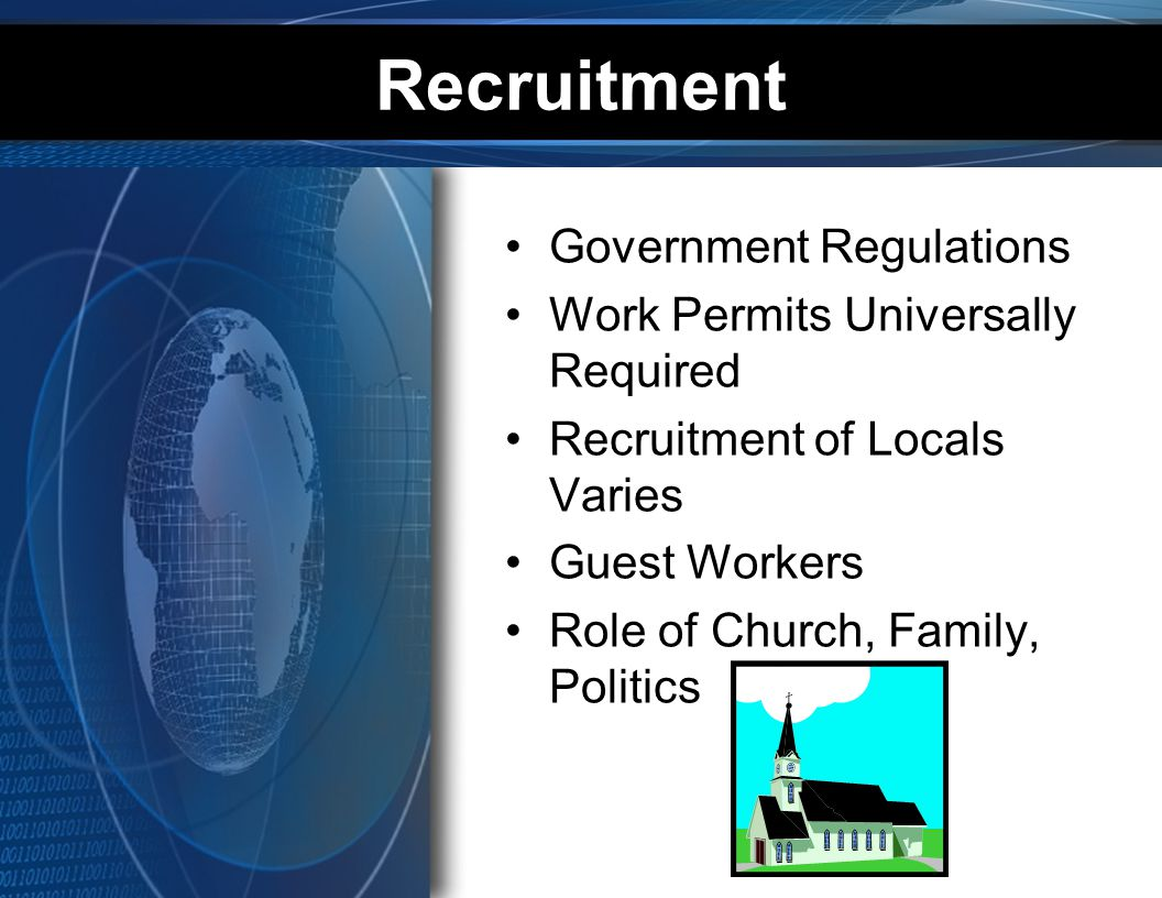Recruitment Government Regulations Work Permits Universally Required Recruitment of Locals Varies Guest Workers Role of Church, Family, Politics