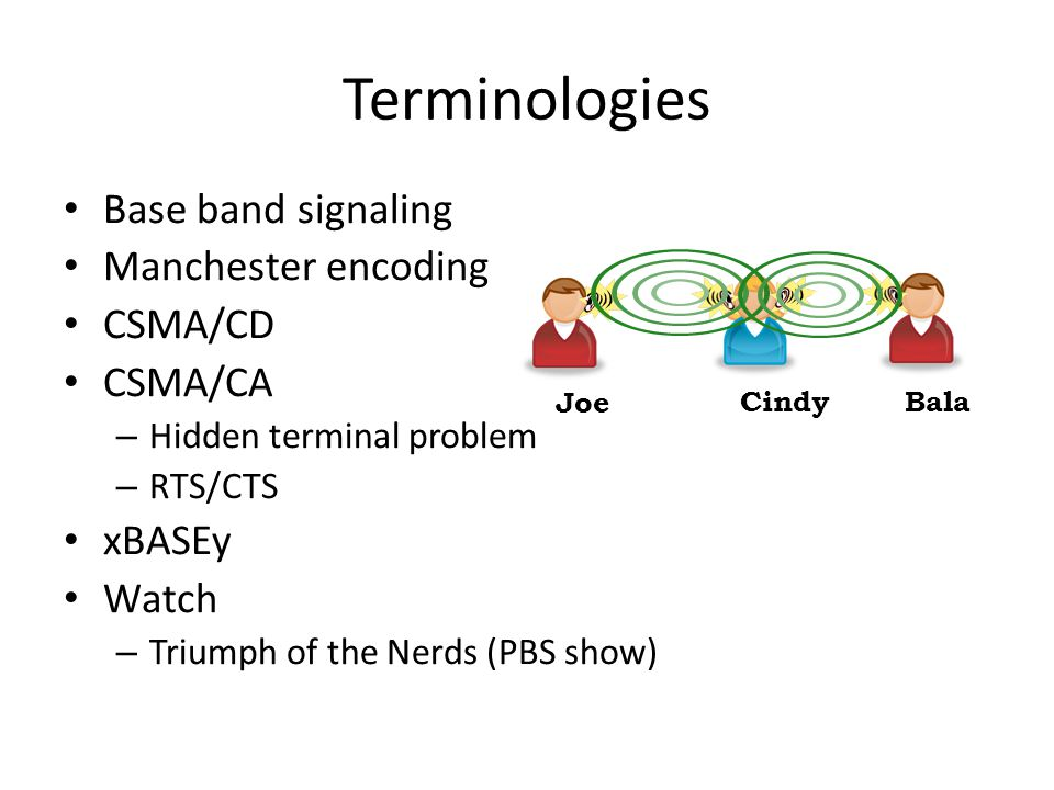 Terminologies Base band signaling Manchester encoding CSMA/CD CSMA/CA – Hidden terminal problem – RTS/CTS xBASEy Watch – Triumph of the Nerds (PBS show) Joe CindyBala