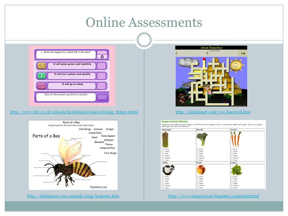 Online Assessments http://www.myschoolhouse.com/courses/O/1/125.asp http://urbanext.illinois.edu/gpe/case1/c1m1app.html http://www.softschools.com/science/plants/flower_anatomy.jsphttp://www.softschools.com/science/plants/plant_parts/