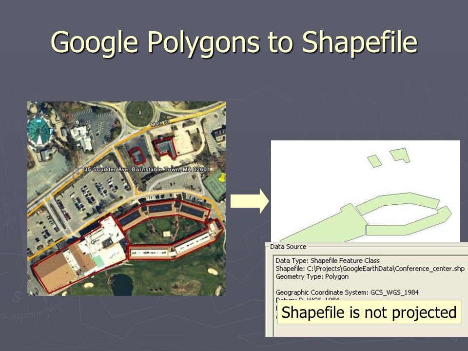 8 Google Polygons to Shapefile Shapefile is not projected