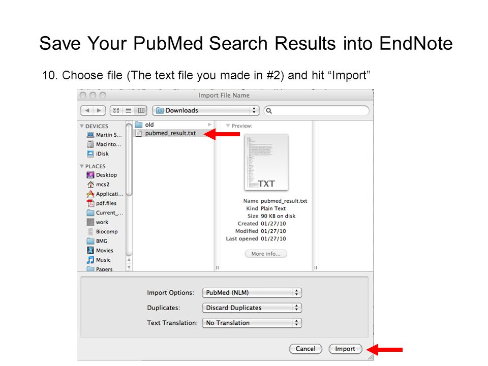 Save Your PubMed Search Results into EndNote 10.