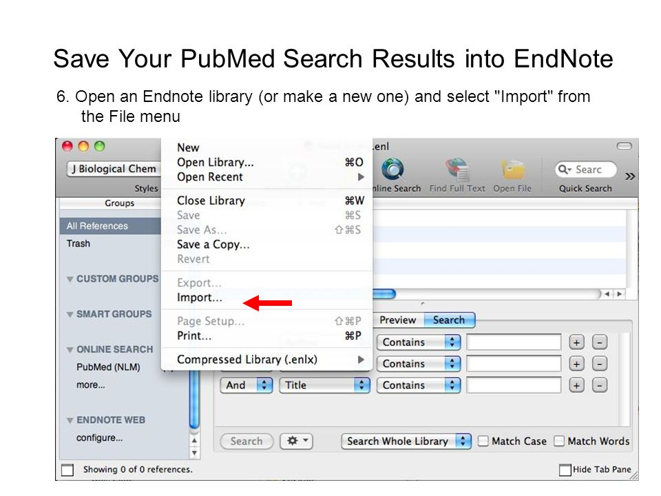 Save Your PubMed Search Results into EndNote 6.