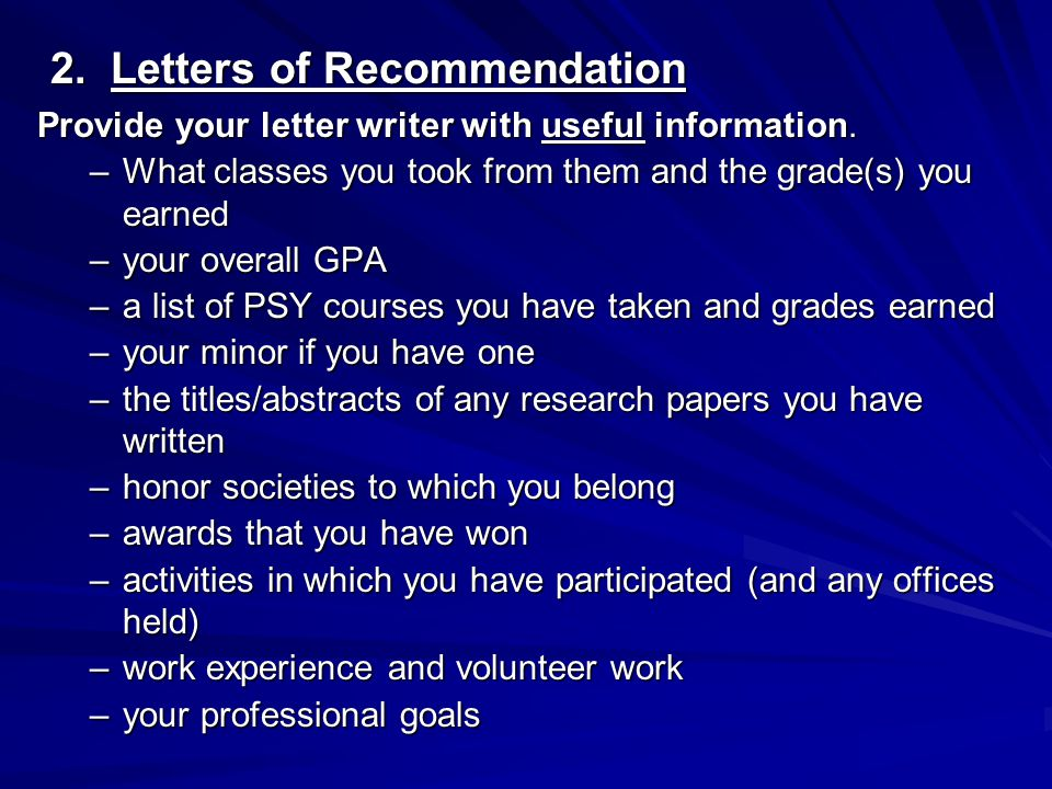 2.Letters of Recommendation 2.
