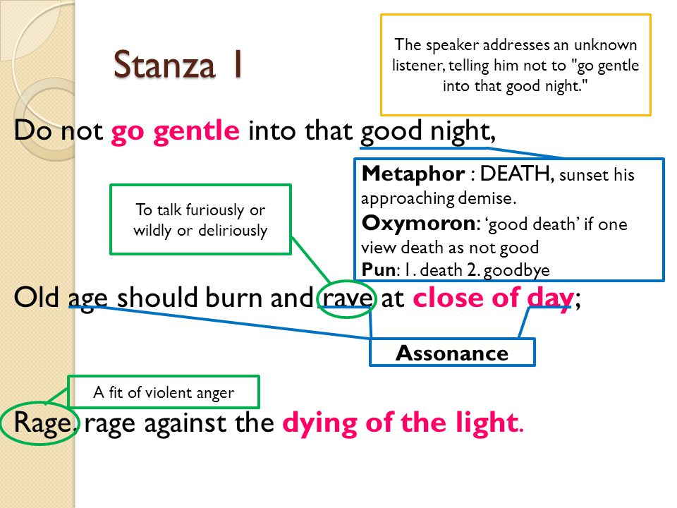 Stanza 1 Do not go gentle into that good night, Old age should burn and rave at close of day; Rage, rage against the dying of the light. Metaphor : DE