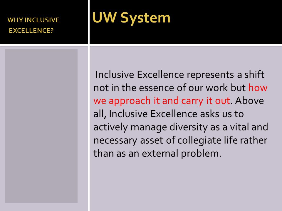 WHY INCLUSIVE UW System EXCELLENCE? Inclusive Excellence represents a shift not in the essence of our work but how we approach it and carry it out. Ab