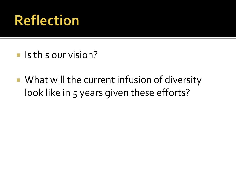  Is this our vision?  What will the current infusion of diversity look like in 5 years given these efforts?