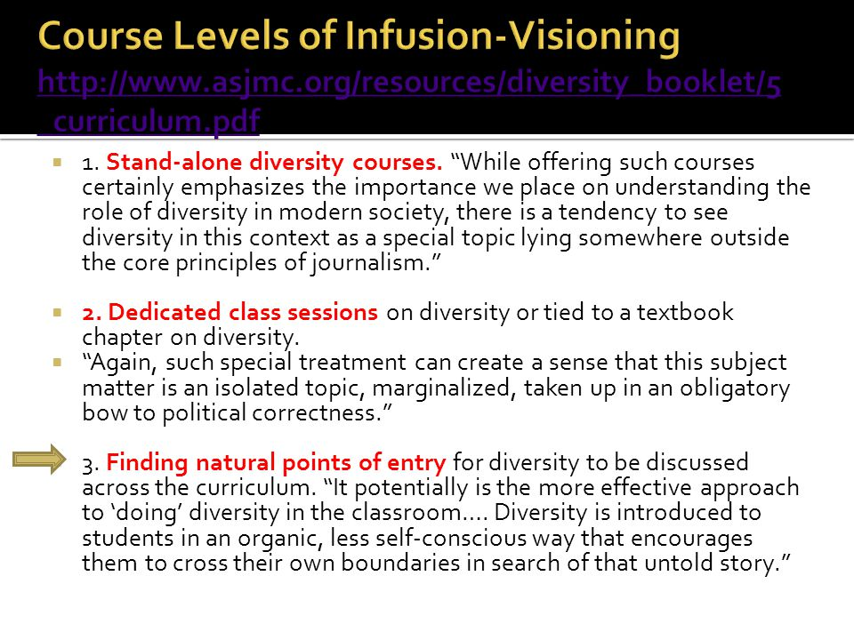 " 1. Stand-alone diversity courses. ""While offering such courses certainly emphasizes the importance we place on understanding the role of diversity i"