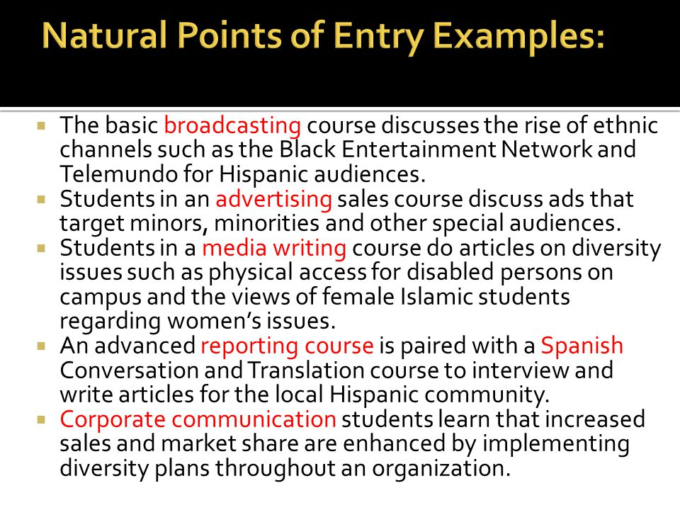  The basic broadcasting course discusses the rise of ethnic channels such as the Black Entertainment Network and Telemundo for Hispanic audiences. 