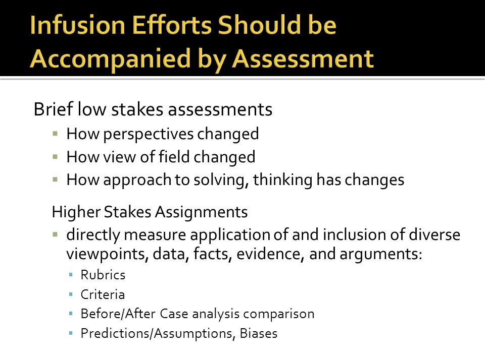 Brief low stakes assessments  How perspectives changed  How view of field changed  How approach to solving, thinking has changes Higher Stakes Assi