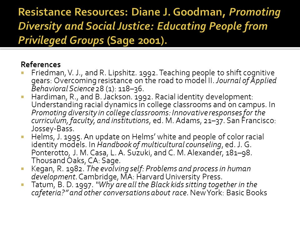 References  Friedman, V. J., and R. Lipshitz. 1992. Teaching people to shift cognitive gears: Overcoming resistance on the road to model II. Journal