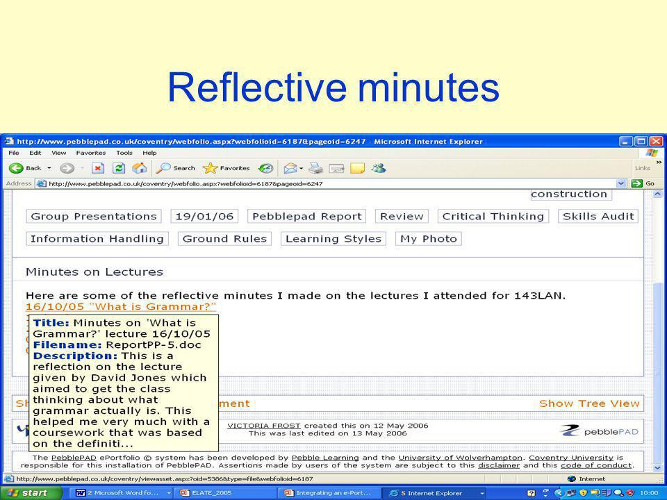 Reflective minutes