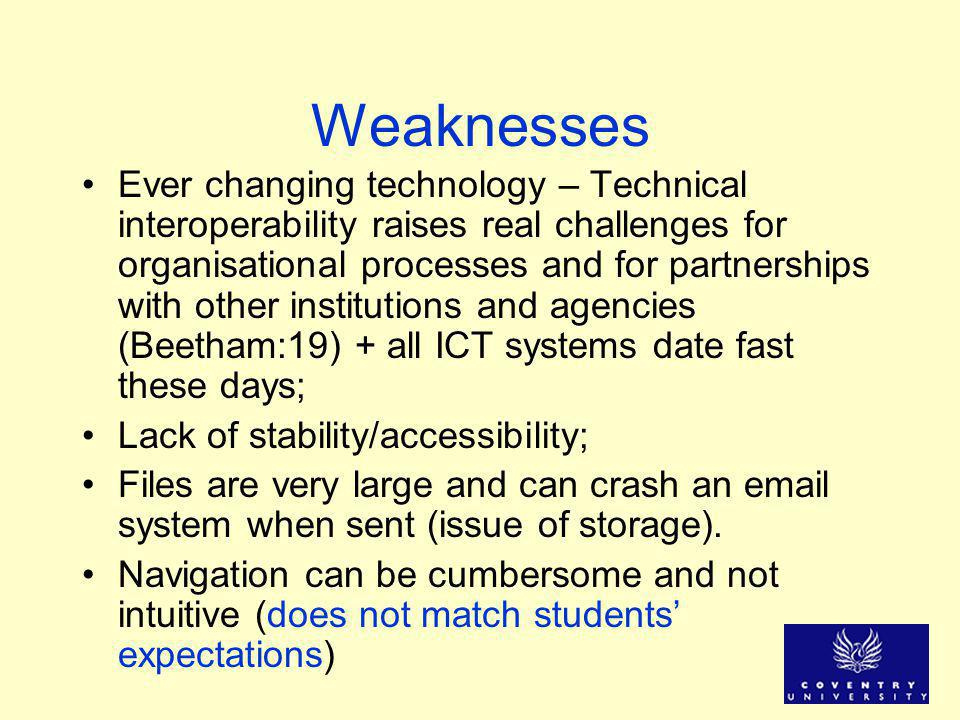 Weaknesses Ever changing technology – Technical interoperability raises real challenges for organisational processes and for partnerships with other institutions and agencies (Beetham:19) + all ICT systems date fast these days; Lack of stability/accessibility; Files are very large and can crash an email system when sent (issue of storage).