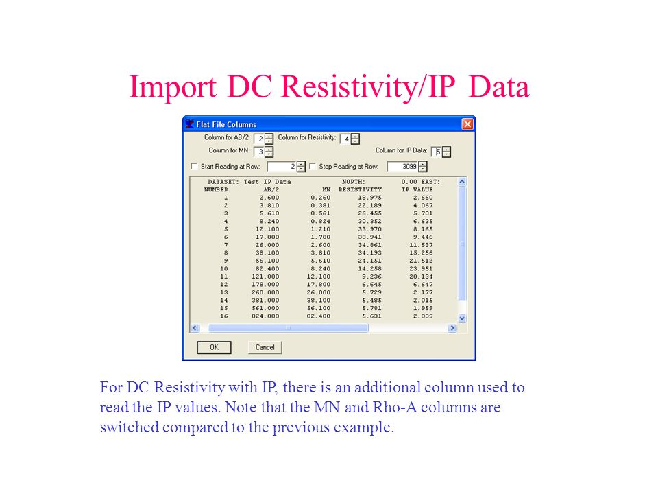 Import DC Resistivity/IP Data For DC Resistivity with IP, there is an additional column used to read the IP values.