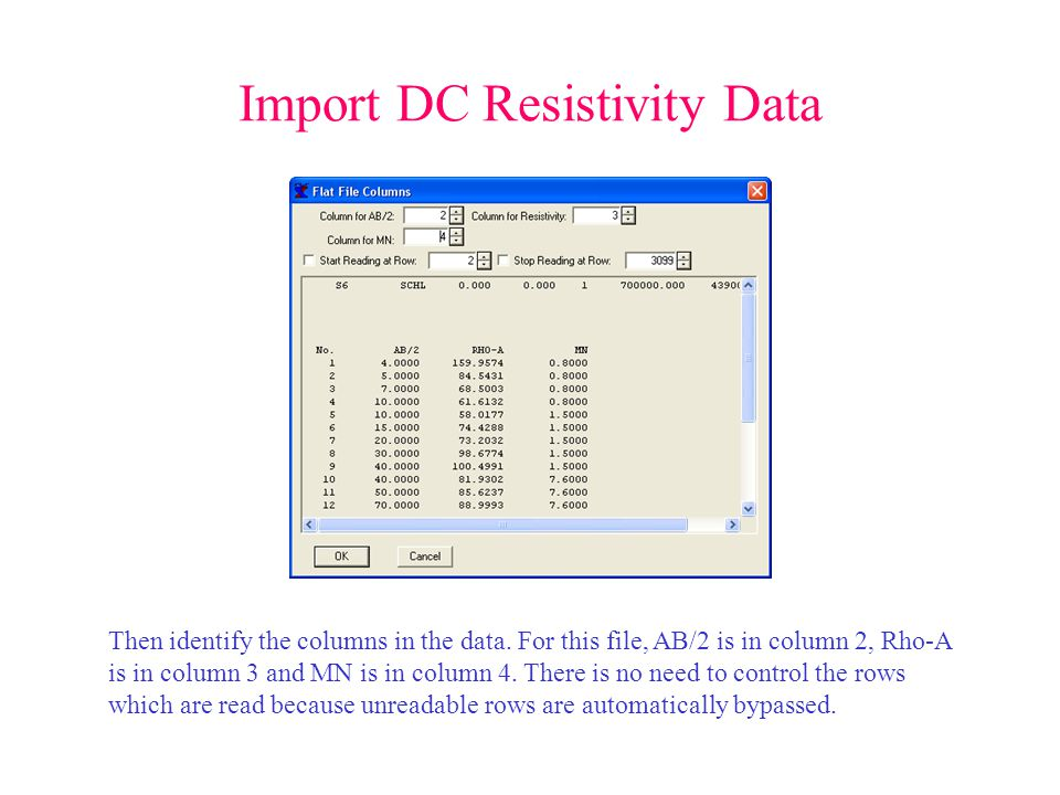 Import DC Resistivity Data Then identify the columns in the data.