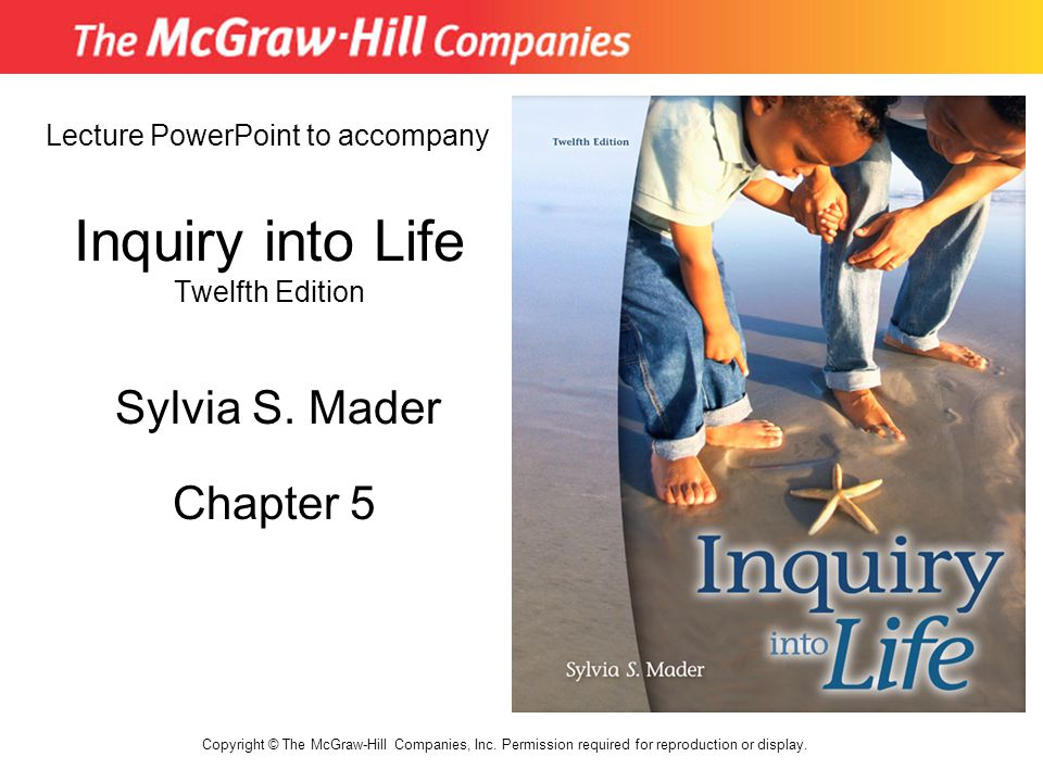 Inquiry into Life Twelfth Edition Chapter 5 Lecture PowerPoint to accompany Sylvia S. Mader Copyright © The McGraw-Hill Companies, Inc. Permission req