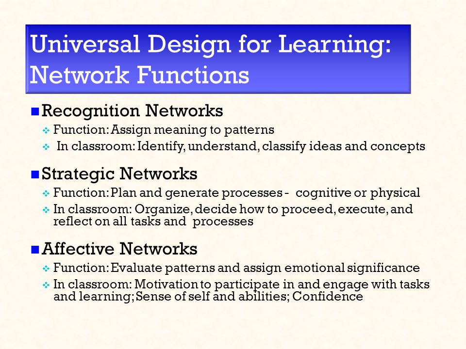 Universal Design for Learning: Network Functions Recognition Networks  Function: Assign meaning to patterns  In classroom: Identify, understand, classify ideas and concepts Strategic Networks  Function: Plan and generate processes - cognitive or physical  In classroom: Organize, decide how to proceed, execute, and reflect on all tasks and processes Affective Networks  Function: Evaluate patterns and assign emotional significance  In classroom: Motivation to participate in and engage with tasks and learning; Sense of self and abilities; Confidence