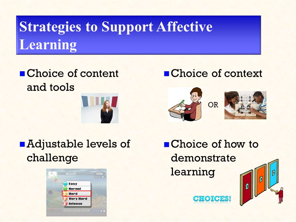 Strategies to Support Affective Learning Choice of content and tools Adjustable levels of challenge Choice of context Choice of how to demonstrate learning OR