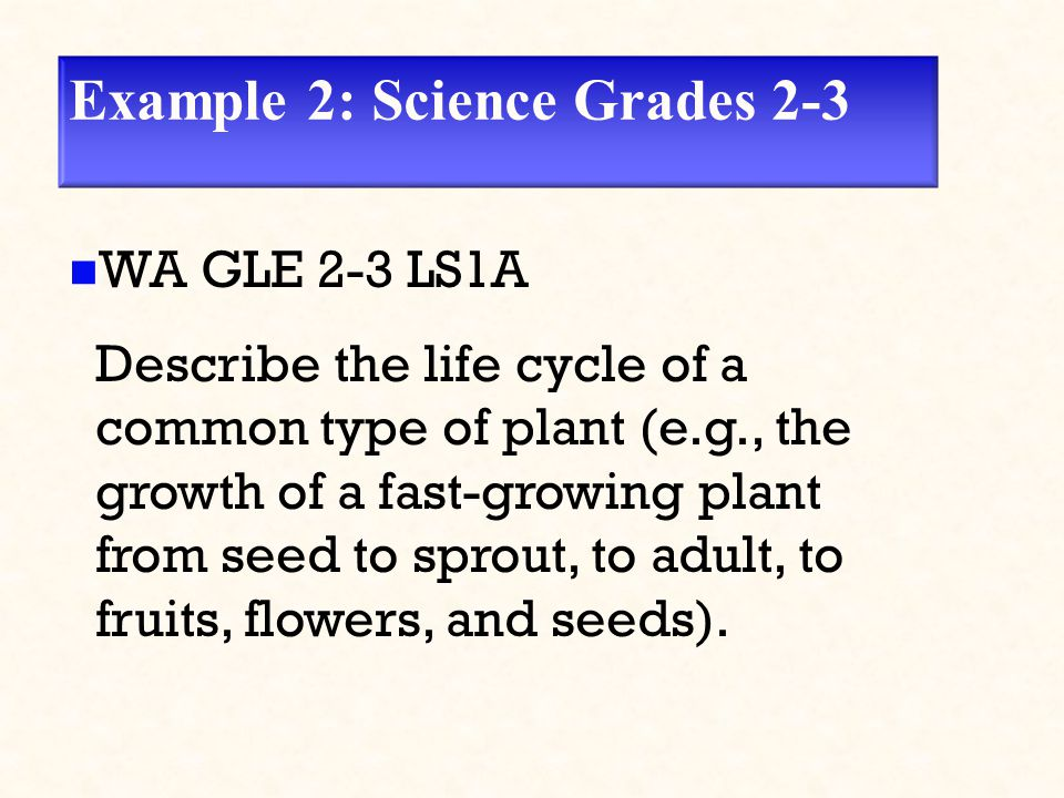 Example 2: Science Grades 2-3 WA GLE 2-3 LS1A Describe the life cycle of a common type of plant (e.g., the growth of a fast-growing plant from seed to sprout, to adult, to fruits, flowers, and seeds).