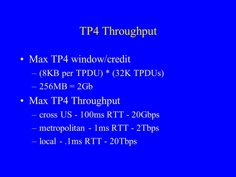 TP4 Throughput Max TP4 window/credit –(8KB per TPDU) * (32K TPDUs) –256MB = 2Gb Max TP4 Throughput –cross US - 100ms RTT - 20Gbps –metropolitan - 1ms