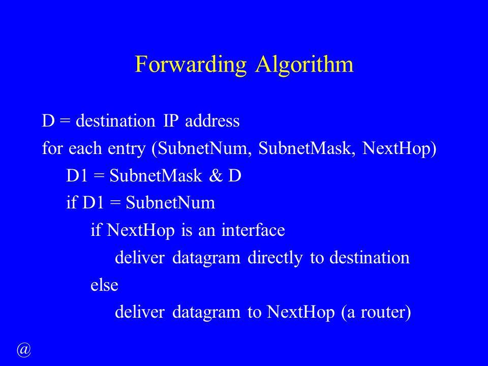 Forwarding Algorithm D = destination IP address for each entry (SubnetNum, SubnetMask, NextHop) D1 = SubnetMask & D if D1 = SubnetNum if NextHop is an