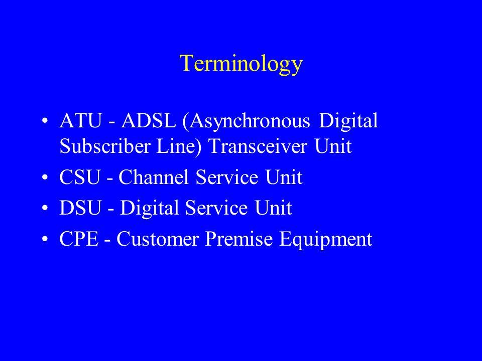 Terminology ATU - ADSL (Asynchronous Digital Subscriber Line) Transceiver Unit CSU - Channel Service Unit DSU - Digital Service Unit CPE - Customer Pr