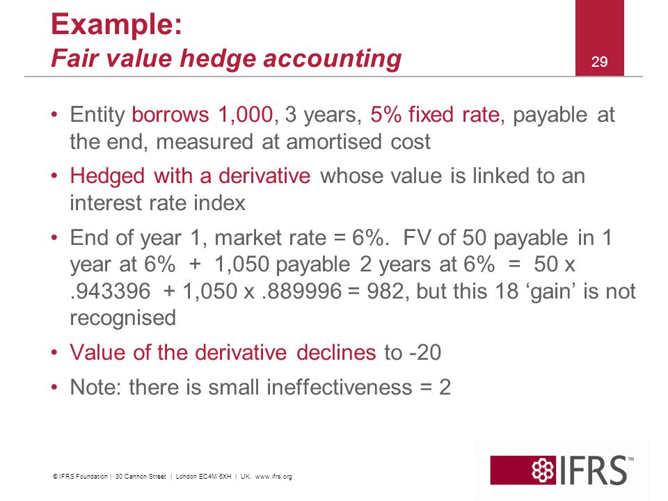 © 2011 IFRS Foundation 30 Cannon Street | London EC4M 6XH | UK | www.ifrs.org 29 Example: Fair value hedge accounting Entity borrows 1,000, 3 years, 5