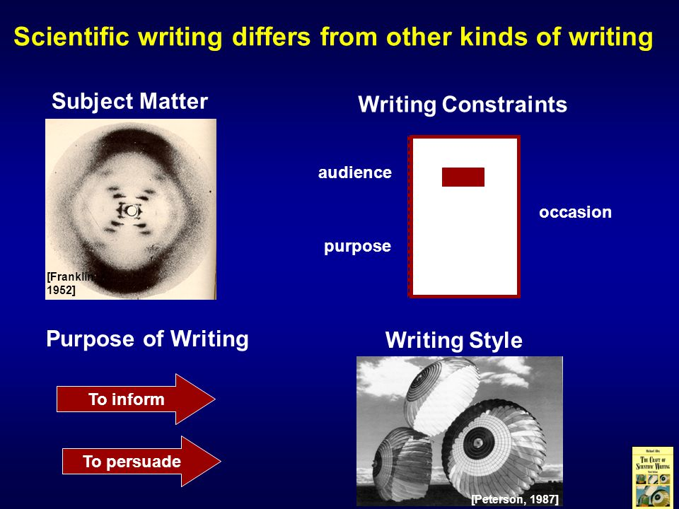 Scientific writing differs from other kinds of writing Subject Matter Writing Constraints audience purpose occasion Purpose of Writing To inform To persuade [Franklin, 1952] Writing Style [Peterson, 1987]