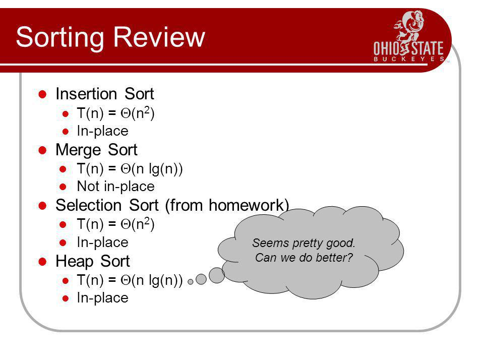 Sorting Review Insertion Sort T(n) =  (n 2 ) In-place Merge Sort T(n) =  (n lg(n)) Not in-place Selection Sort (from homework) T(n) =  (n 2 ) In-pl