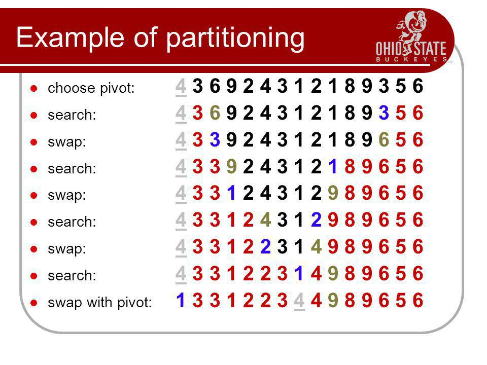 Example of partitioning choose pivot: 4 3 6 9 2 4 3 1 2 1 8 9 3 5 6 search: 4 3 6 9 2 4 3 1 2 1 8 9 3 5 6 swap: 4 3 3 9 2 4 3 1 2 1 8 9 6 5 6 search: 4 3 3 9 2 4 3 1 2 1 8 9 6 5 6 swap: 4 3 3 1 2 4 3 1 2 9 8 9 6 5 6 search: 4 3 3 1 2 4 3 1 2 9 8 9 6 5 6 swap: 4 3 3 1 2 2 3 1 4 9 8 9 6 5 6 search: 4 3 3 1 2 2 3 1 4 9 8 9 6 5 6 swap with pivot: 1 3 3 1 2 2 3 4 4 9 8 9 6 5 6