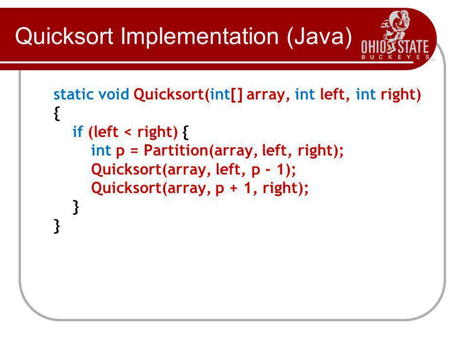 Quicksort Implementation (Java) static void Quicksort(int[] array, int left, int right) { if (left < right) { int p = Partition(array, left, right); Quicksort(array, left, p - 1); Quicksort(array, p + 1, right); } }