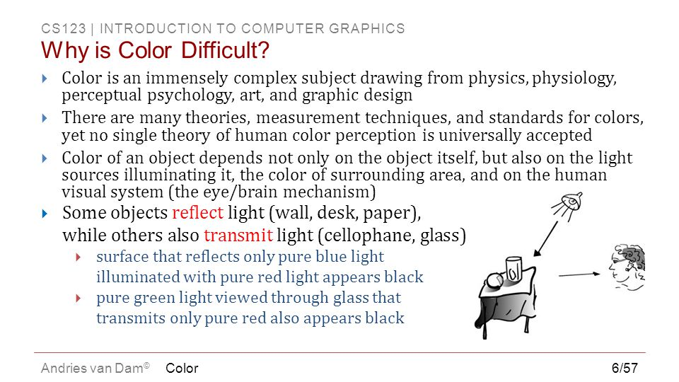 CS123 | INTRODUCTION TO COMPUTER GRAPHICS Andries van Dam ©  Color is a property of objects that our minds create – an interpretation of the world around us  Ability to differentiate between colors varies greatly among different animal species  Color perception stems from two main components:  Physical properties of the world around us  electromagnetic waves interact with materials in world and eventually reach eyes  visible light comprises the portion of the electromagnetic spectrum that our eyes can detect (380nm/violet – 740nm/red)  photoreceptors in the eye (rods and cones) convert light (photons) into electro-chemical signals, then processed by brain  Physiological interpretation of signals ( raw data ) output by receptors  less well-understood and incredibly complex higher level processing  very dependent on past experience and object associations  Both are important to understanding our sensation of color 7/57 What is color.