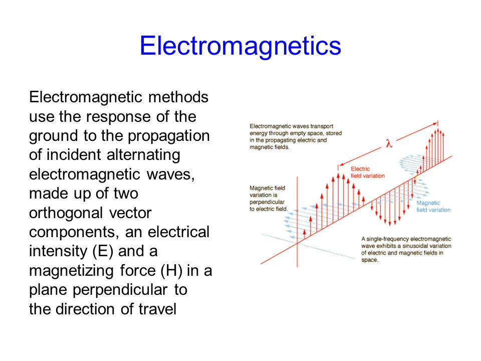 Electromagnetics Electromagnetic methods use the response of the ground to the propagation of incident alternating electromagnetic waves, made up of t
