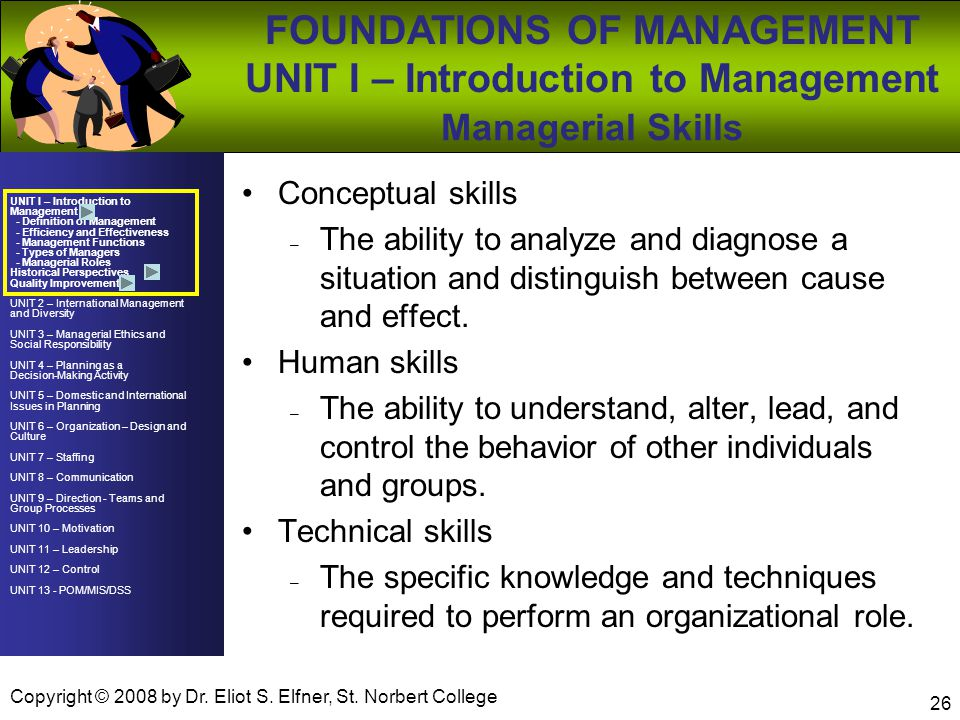 UNIT I – Introduction to Management - Definition of Management - Efficiency and Effectiveness - Management Functions - Types of Managers - Managerial Roles Historical Perspectives Quality Improvement UNIT 2 – International Management and Diversity UNIT 3 – Managerial Ethics and Social Responsibility UNIT 4 – Planning as a Decision-Making Activity UNIT 5 – Domestic and International Issues in Planning UNIT 6 – Organization – Design and Culture UNIT 7 – Staffing UNIT 8 – Communication UNIT 9 – Direction - Teams and Group Processes UNIT 10 – Motivation UNIT 11 – Leadership UNIT 12 – Control UNIT 13 - POM/MIS/DSS FOUNDATIONS OF MANAGEMENT UNIT I – Introduction to Management Copyright © 2008 by Dr.