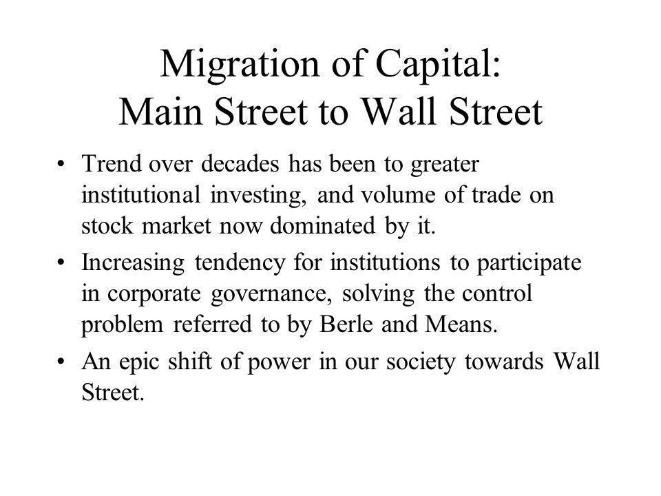 Migration of Capital: Main Street to Wall Street Trend over decades has been to greater institutional investing, and volume of trade on stock market now dominated by it.