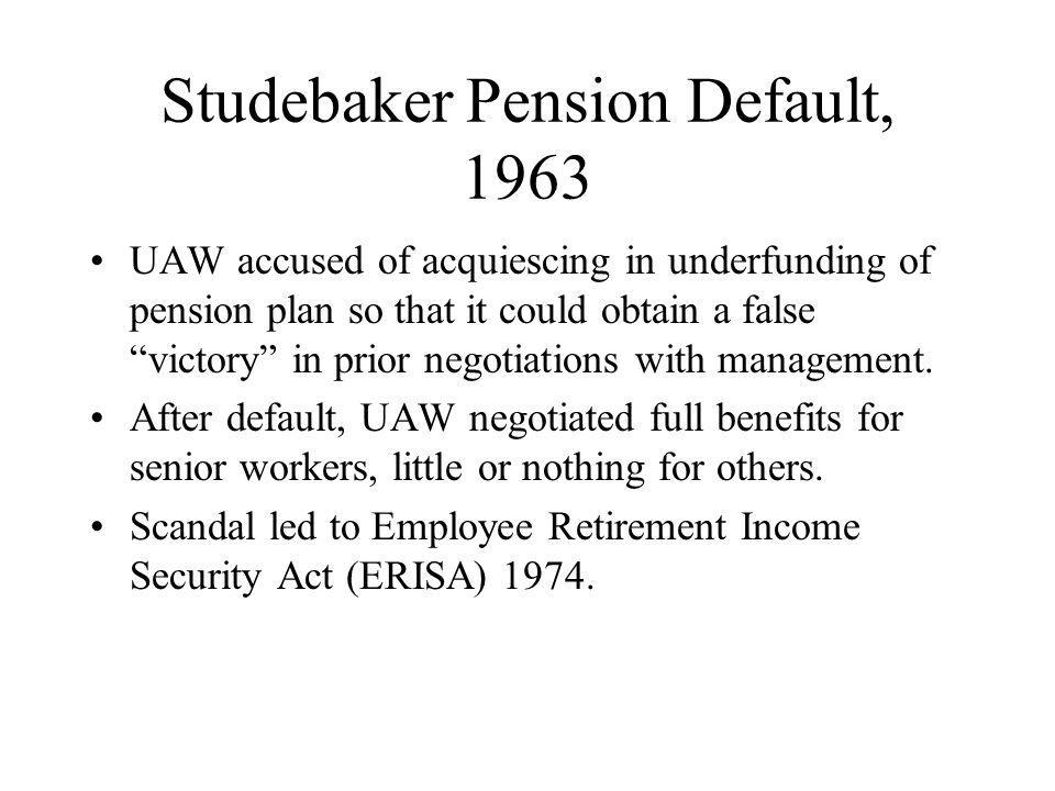 Studebaker Pension Default, 1963 UAW accused of acquiescing in underfunding of pension plan so that it could obtain a false victory in prior negotiations with management.