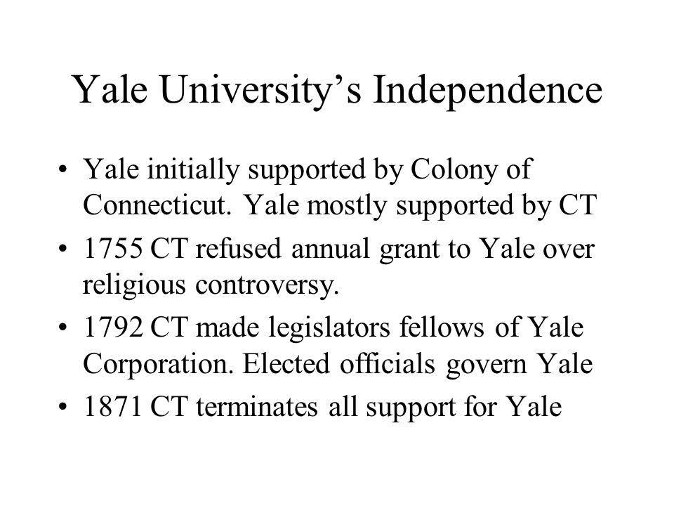 Yale University's Independence Yale initially supported by Colony of Connecticut.