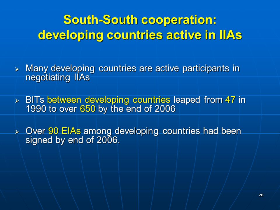 29 South-South cooperation through IIAs is intensifying