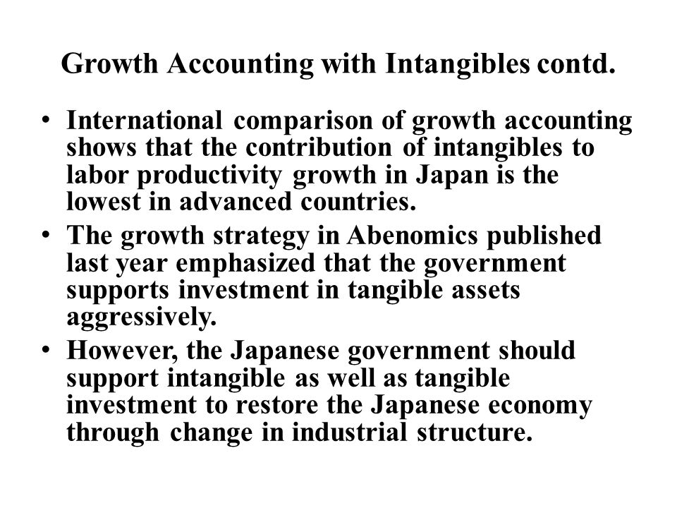 Growth Accounting with Intangibles contd.