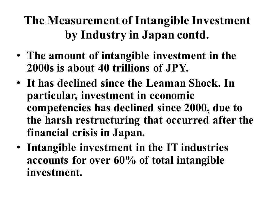 Capital Stock in Intangible Assets in Japan (based on the Japanese survey)