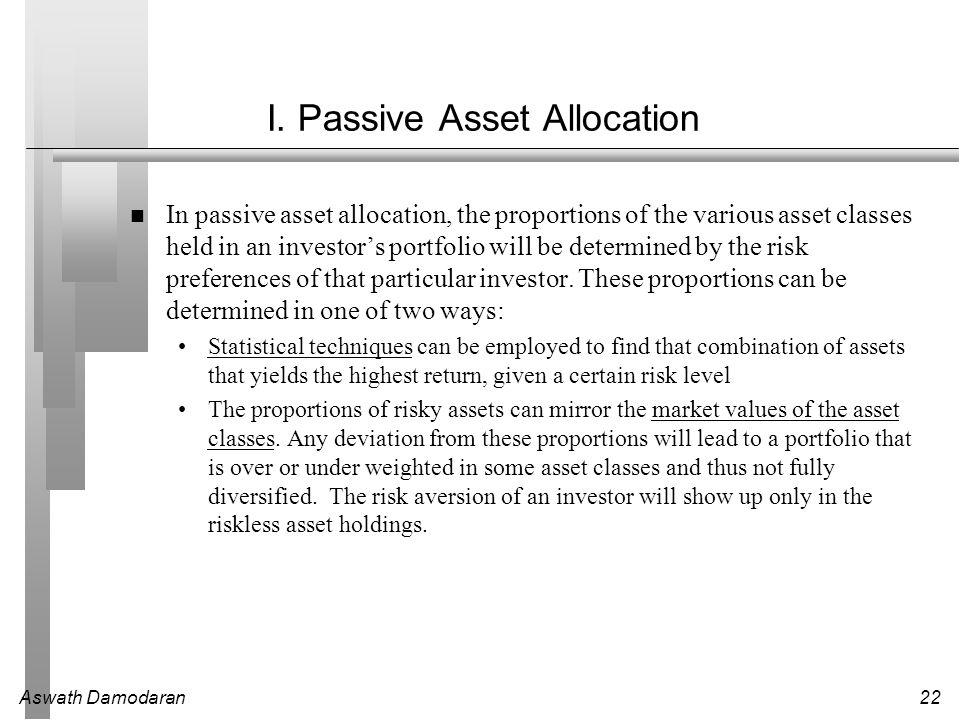 Aswath Damodaran22 I. Passive Asset Allocation In passive asset allocation, the proportions of the various asset classes held in an investor's portfol