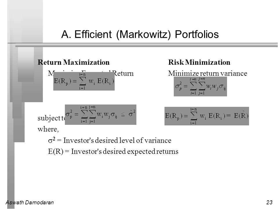 Aswath Damodaran23 A. Efficient (Markowitz) Portfolios Return MaximizationRisk Minimization Maximize Expected Return Minimize return variance subject