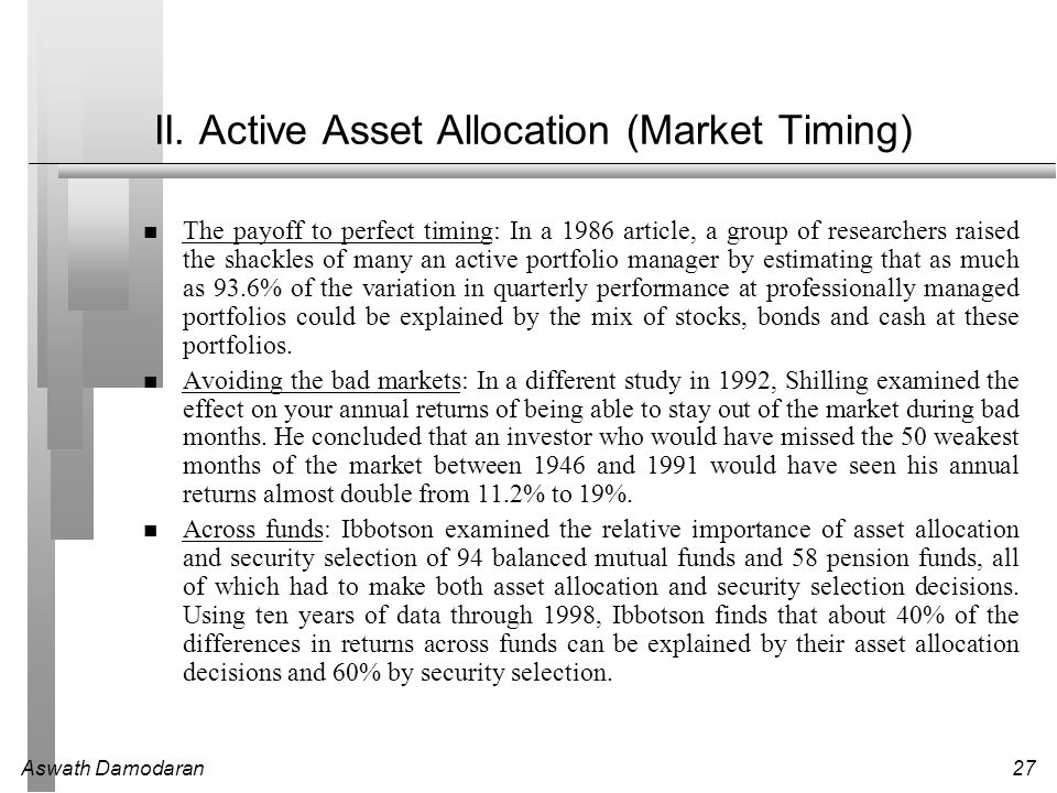 Aswath Damodaran27 II. Active Asset Allocation (Market Timing) The payoff to perfect timing: In a 1986 article, a group of researchers raised the shac