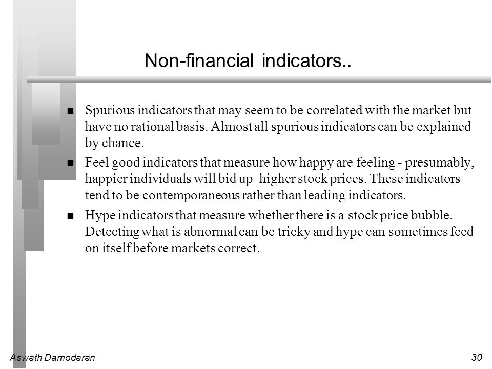 Aswath Damodaran30 Non-financial indicators.. Spurious indicators that may seem to be correlated with the market but have no rational basis. Almost al