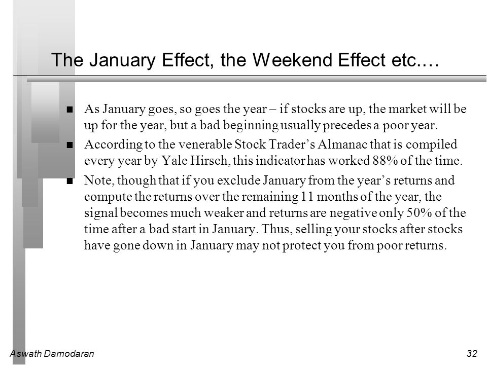 Aswath Damodaran32 The January Effect, the Weekend Effect etc.… As January goes, so goes the year – if stocks are up, the market will be up for the ye