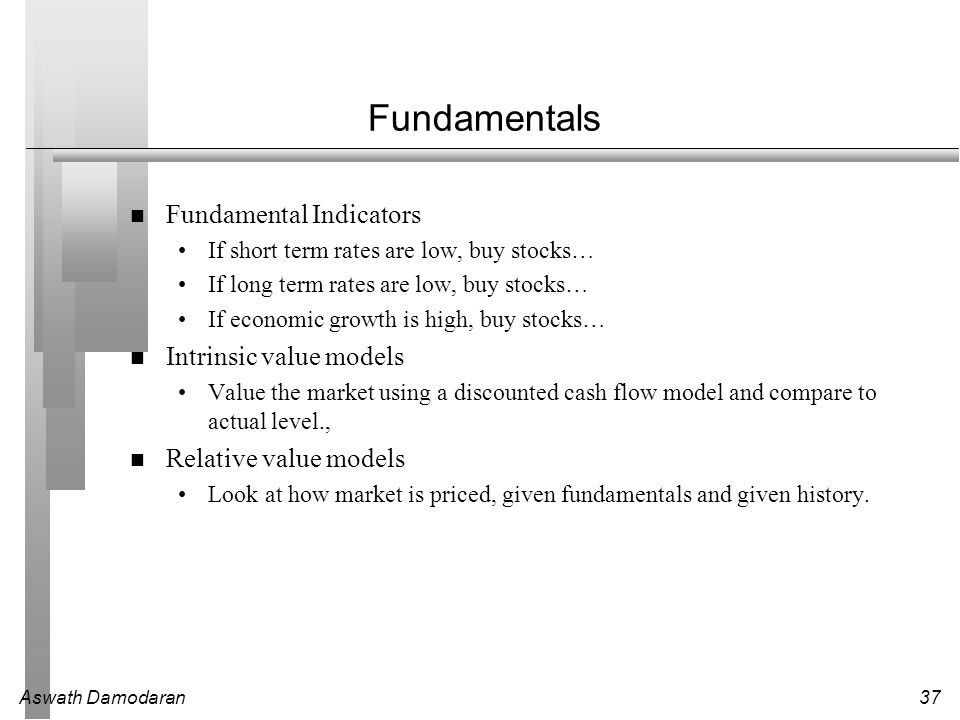 Aswath Damodaran37 Fundamentals Fundamental Indicators If short term rates are low, buy stocks… If long term rates are low, buy stocks… If economic gr