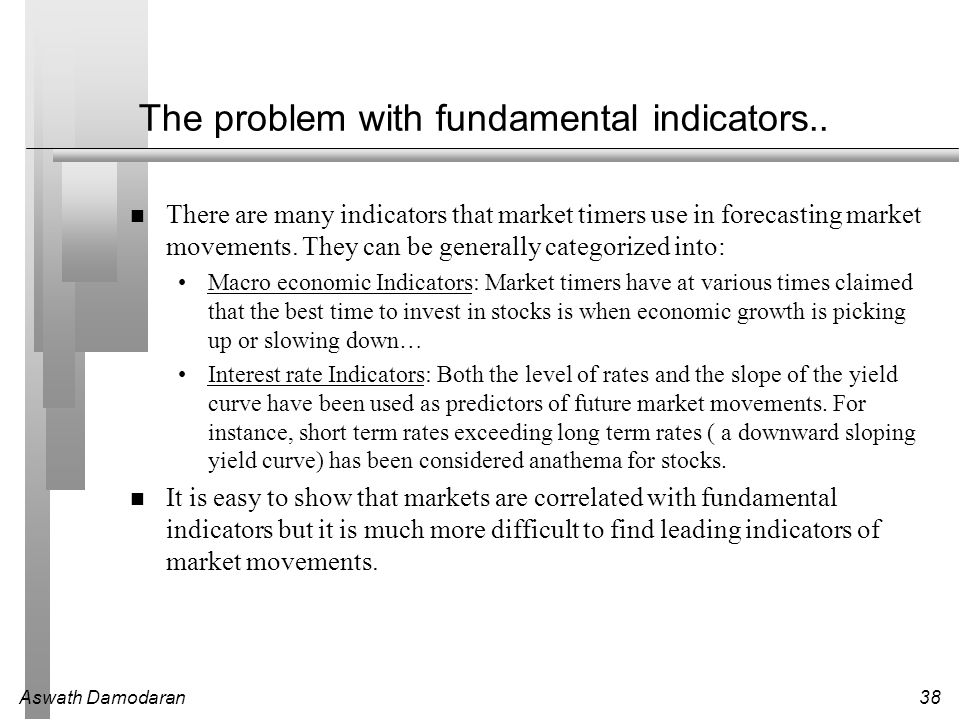 Aswath Damodaran38 The problem with fundamental indicators.. There are many indicators that market timers use in forecasting market movements. They ca