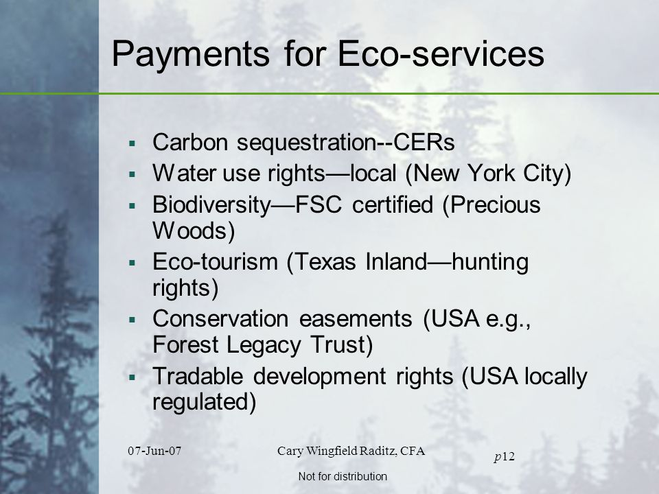 Not for distribution 07-Jun-07Cary Wingfield Raditz, CFA p12 Payments for Eco-services  Carbon sequestration--CERs  Water use rights—local (New York City)  Biodiversity—FSC certified (Precious Woods)  Eco-tourism (Texas Inland—hunting rights)  Conservation easements (USA e.g., Forest Legacy Trust)  Tradable development rights (USA locally regulated)
