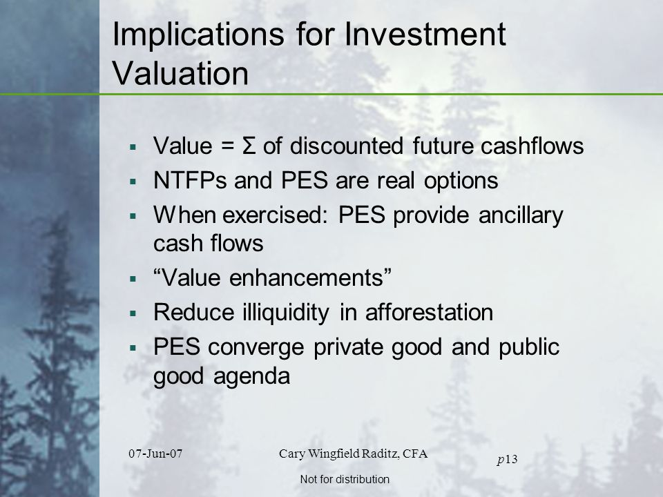 Not for distribution 07-Jun-07Cary Wingfield Raditz, CFA p13 Implications for Investment Valuation  Value = Σ of discounted future cashflows  NTFPs and PES are real options  When exercised: PES provide ancillary cash flows  Value enhancements  Reduce illiquidity in afforestation  PES converge private good and public good agenda